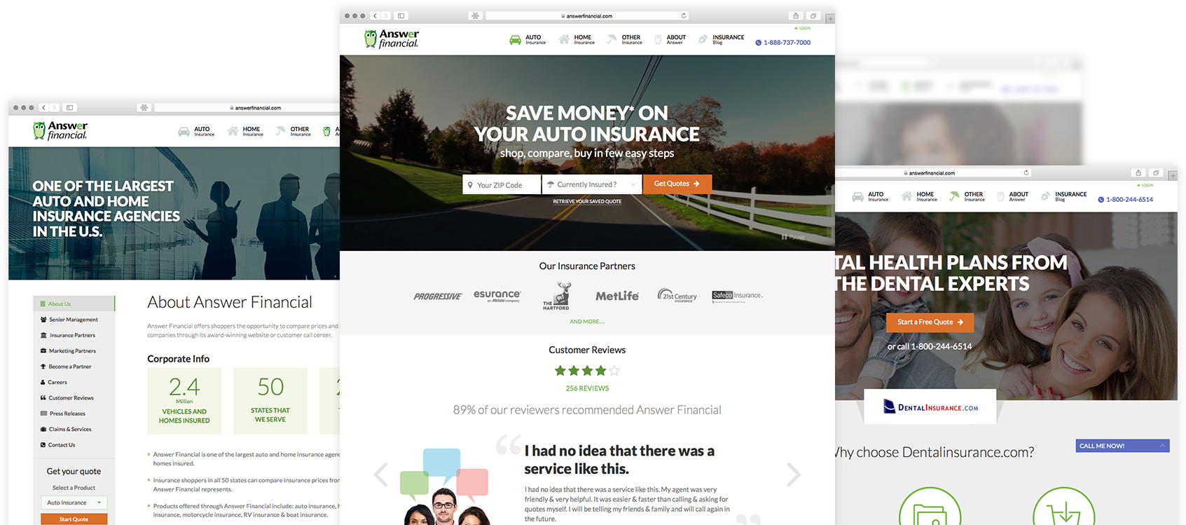 Answer Financial Websites screens